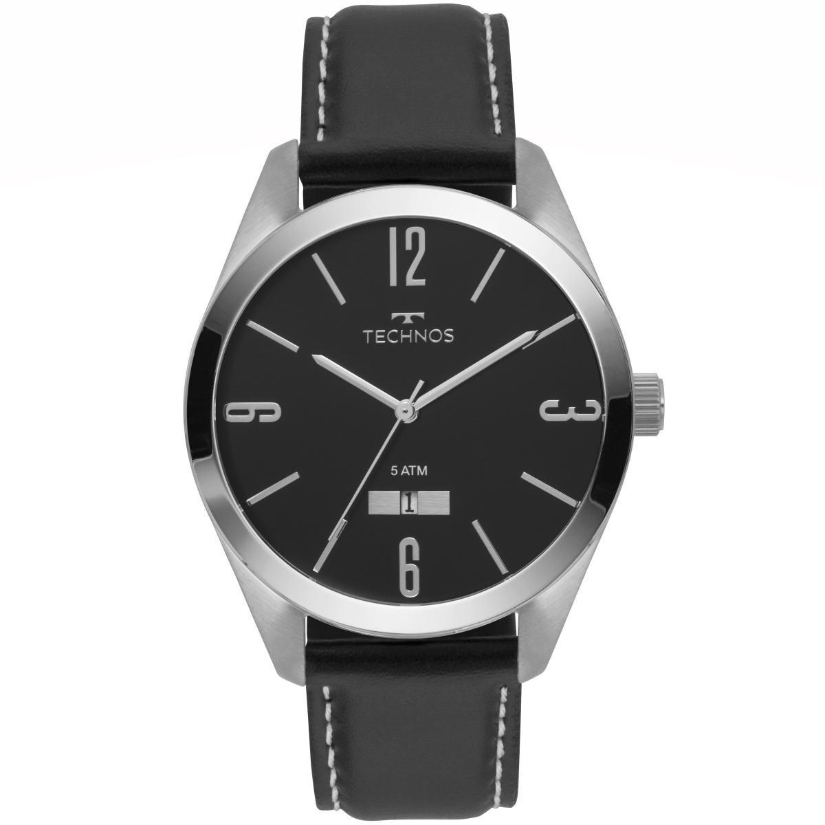 Relógio Masculino Technos 2115MNX/1P 46mm Couro Preto