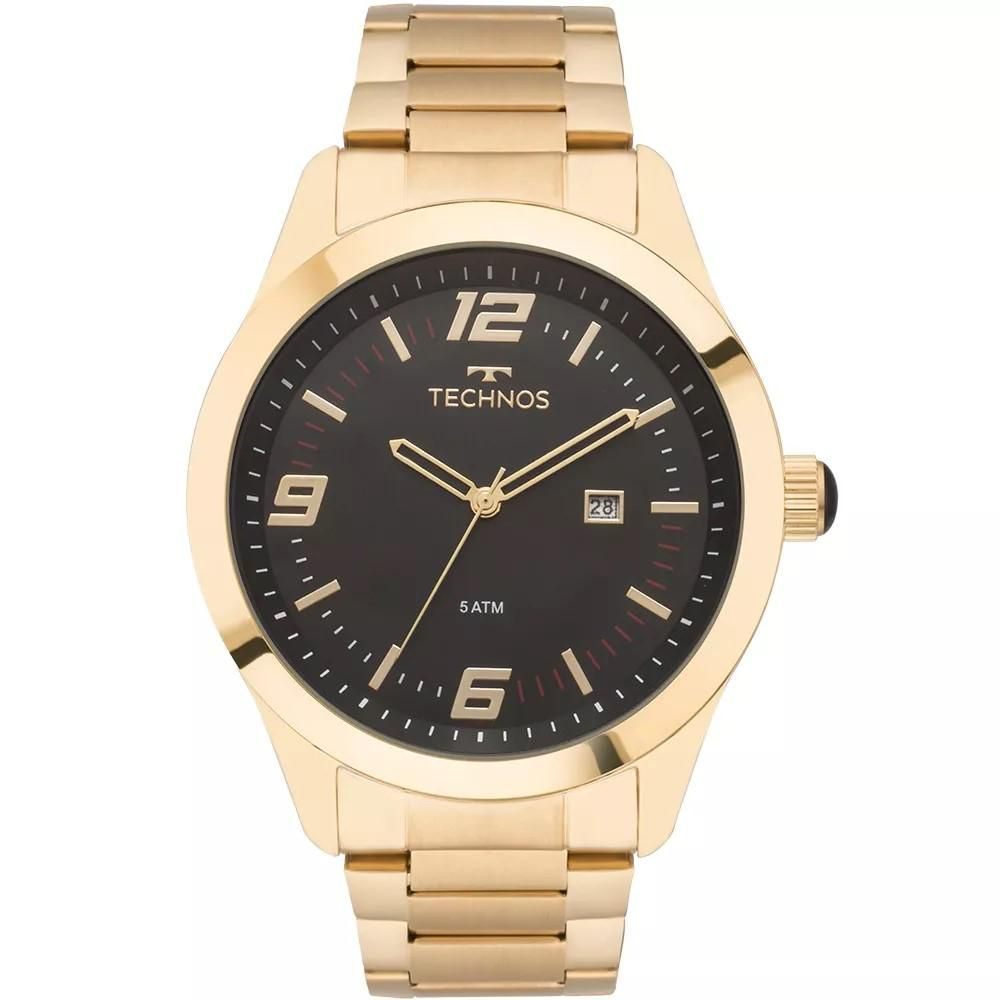 25b2be3cd49 Relógio Masculino Technos 2115MNZ 4P Aço Dourado