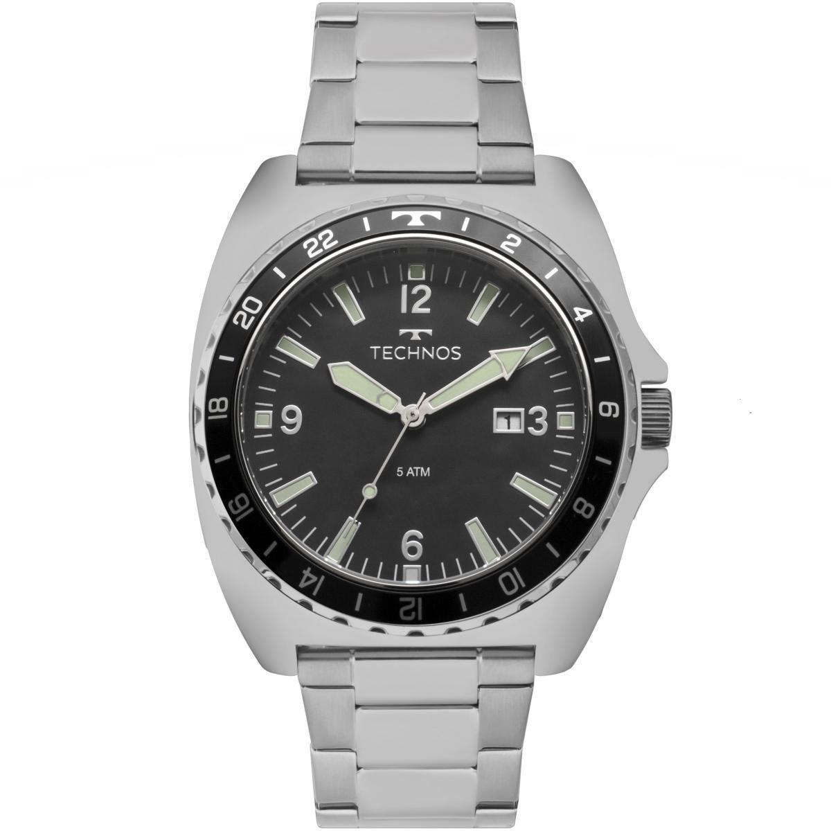 a14342fc456 Relógio Masculino Technos 2115MOB 1P 44mm Aço Prata