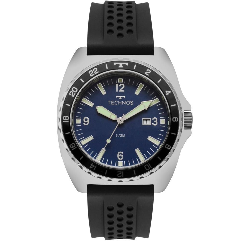Relógio Masculino Technos 2115MOC/1A 48mm Aço Silicone Preto