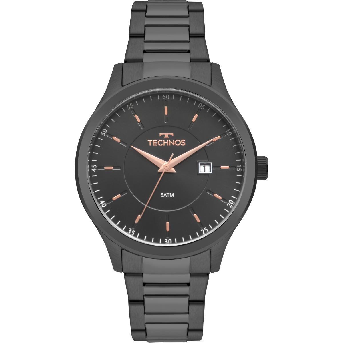Relógio Masculino Technos 2115MPQ/4A 45mm Aço Grafite