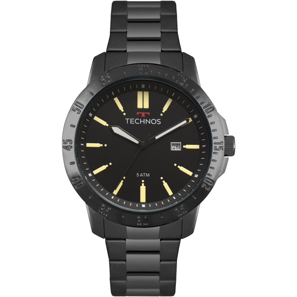 Relógio Masculino Technos 2115MQU/4P 46mm Aço Preto