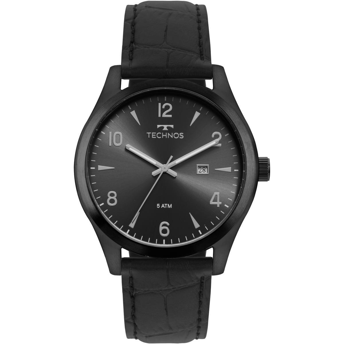 Relógio Masculino Technos 2115MRD/2P 45mm Couro Preto