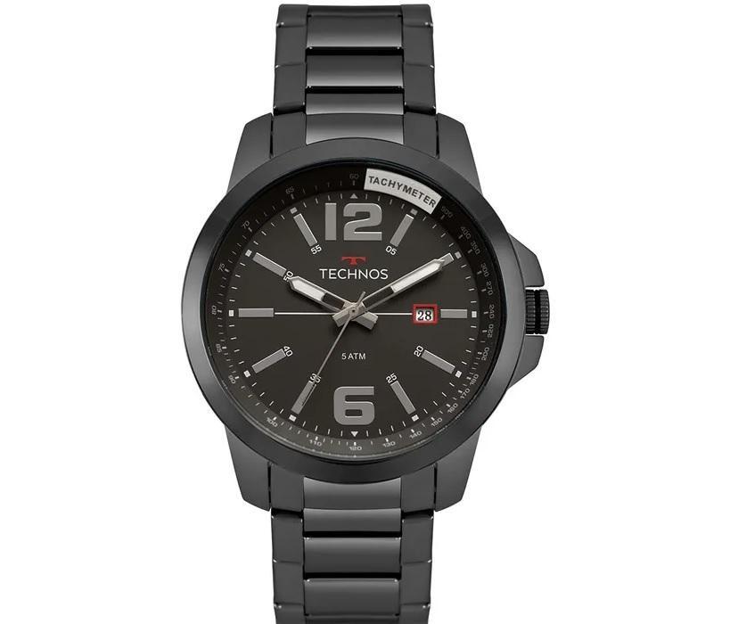 Relógio Masculino Technos 2115MRN/4C 45mm Aço Grafite