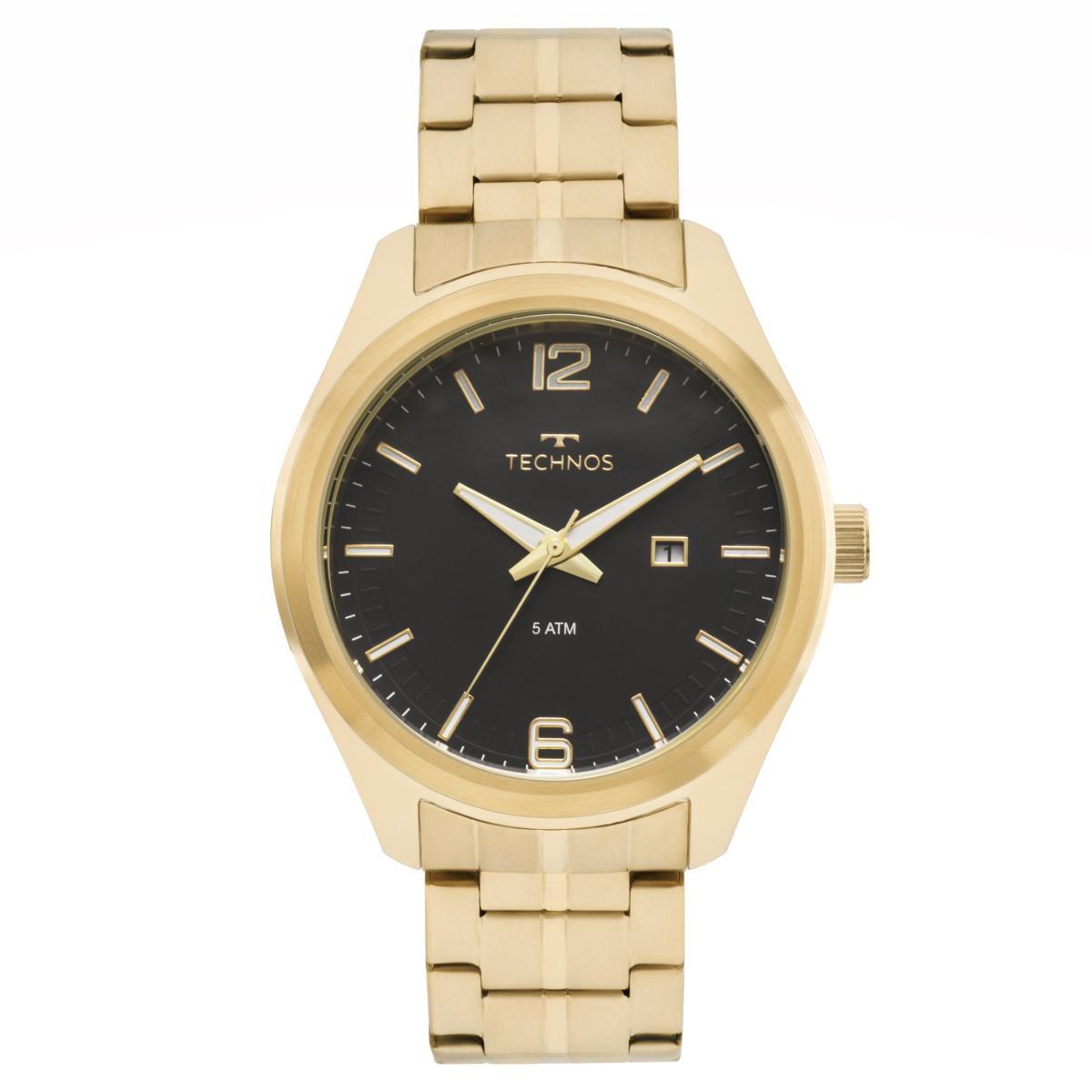 Relógio Masculino Technos 2117LAK/1P Pulseira Aço Dourada