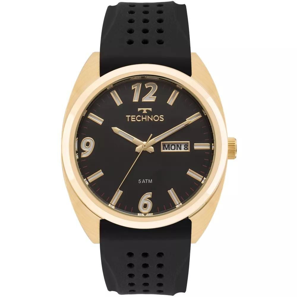 Relógio Masculino Technos 2305AT/8P Silicone Preto