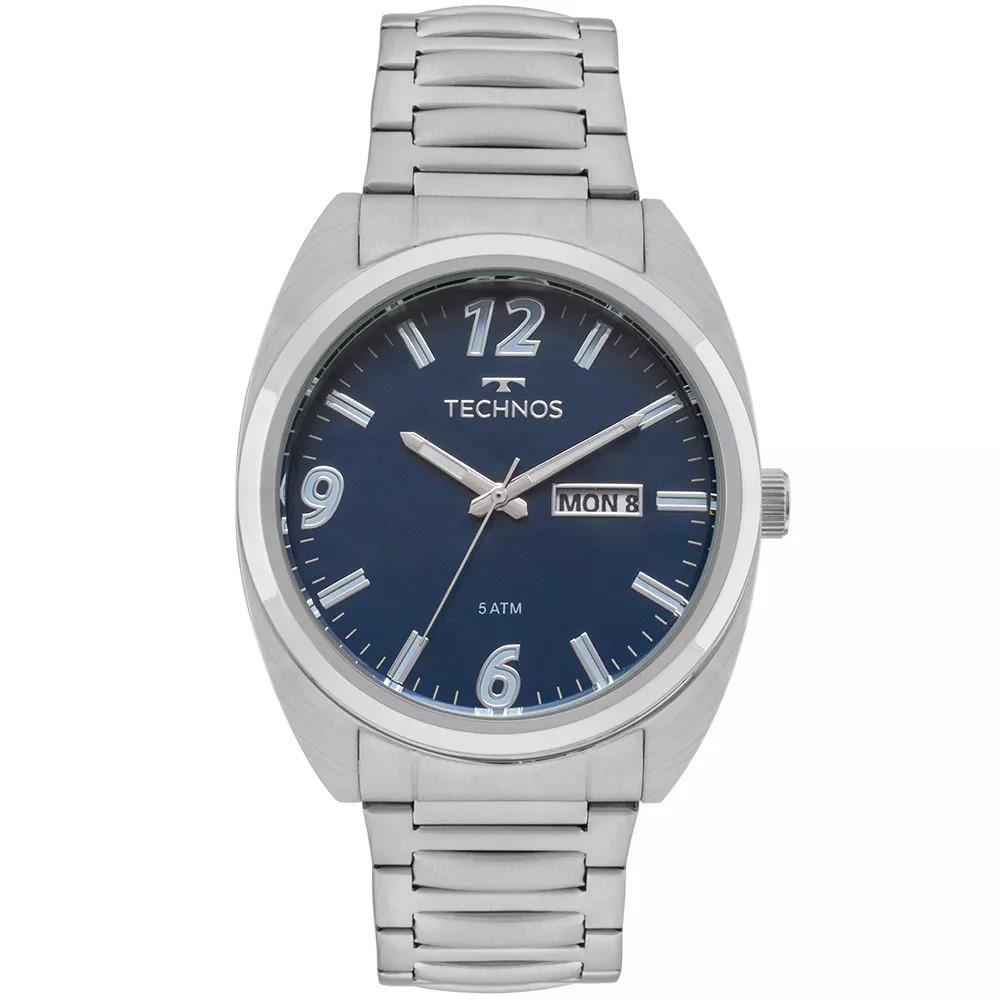c966bd346be Relógio Masculino Technos 2305AU 1A Aço Prata