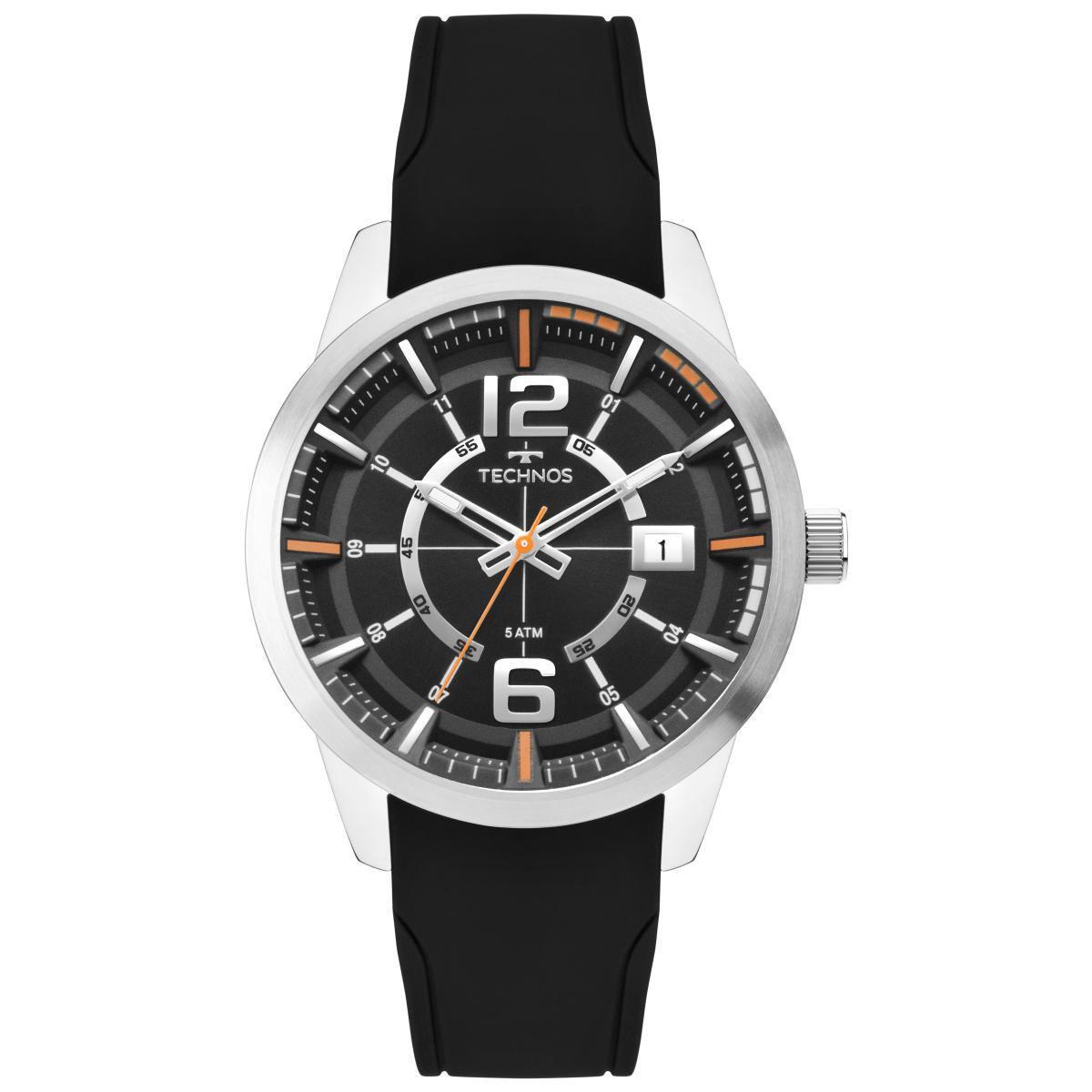 Relógio Masculino Technos 2315KZX/0P 44mm Silicone Preto