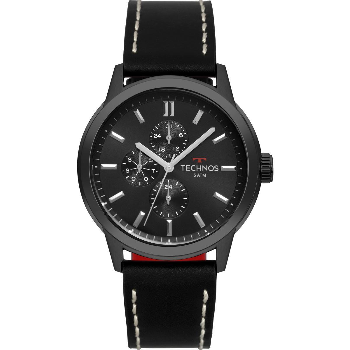 Relógio Masculino Technos 6P27DR/2P 46mm Couro Preto