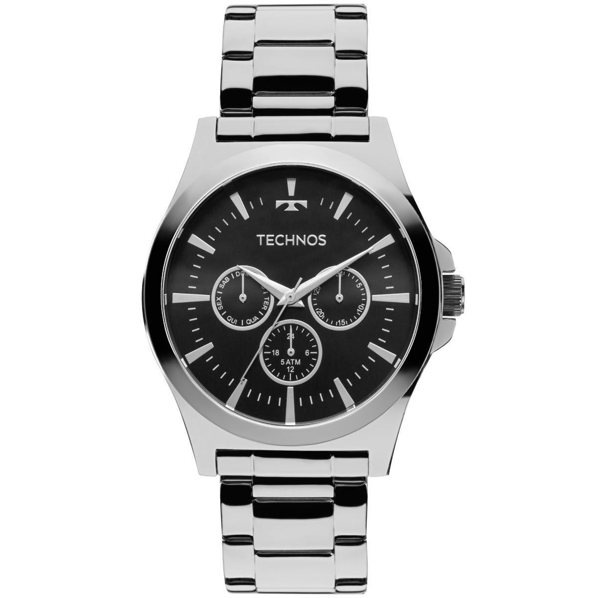 Relógio Masculino Technos 6P29AJK/1P 43mm Aço Prata