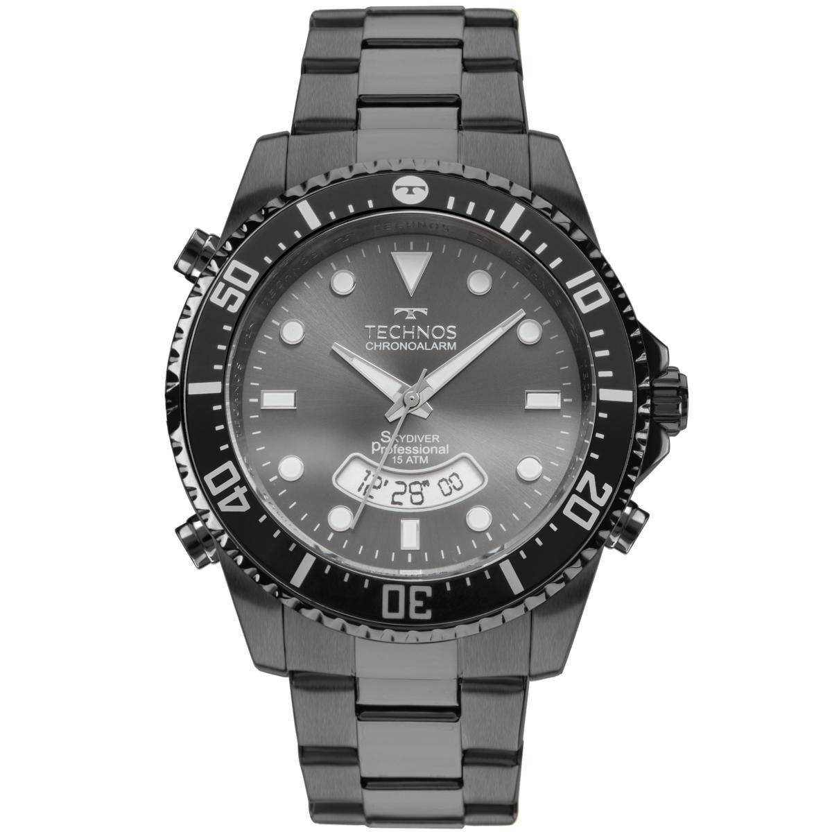 0db4ea2bfe8 Relógio Masculino Technos Analogico Digital T205JE 4P 47mm Pulseira Aço Fume