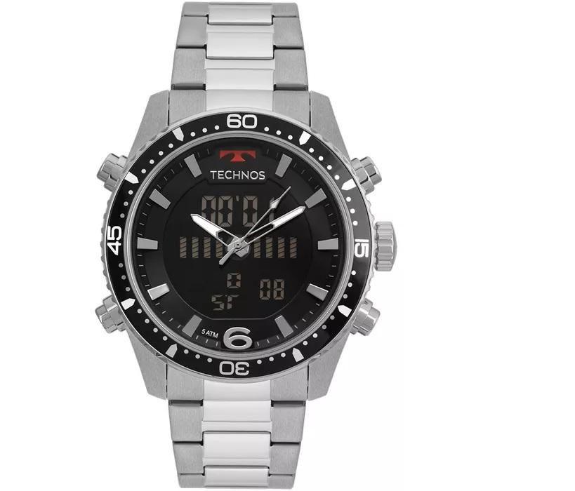 Relógio Masculino Technos BJK203AAC/1P 46mm Aço Prata AnaDigi