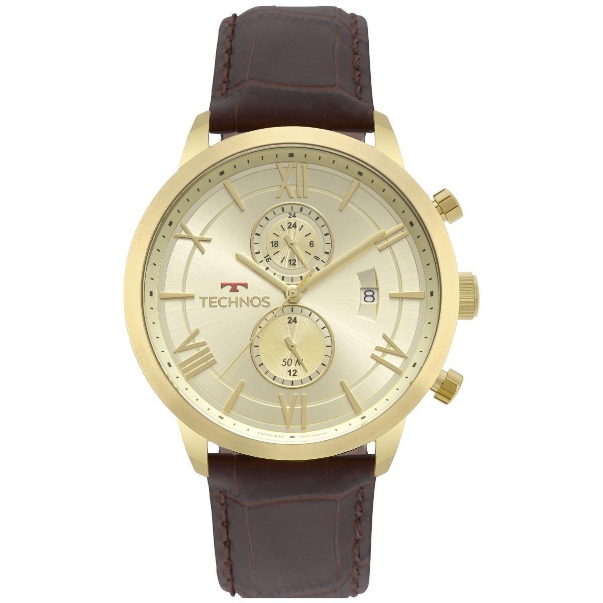 Relógio Masculino Technos Classic GrandTech JP11AD/4X 48mm Couro Marrom
