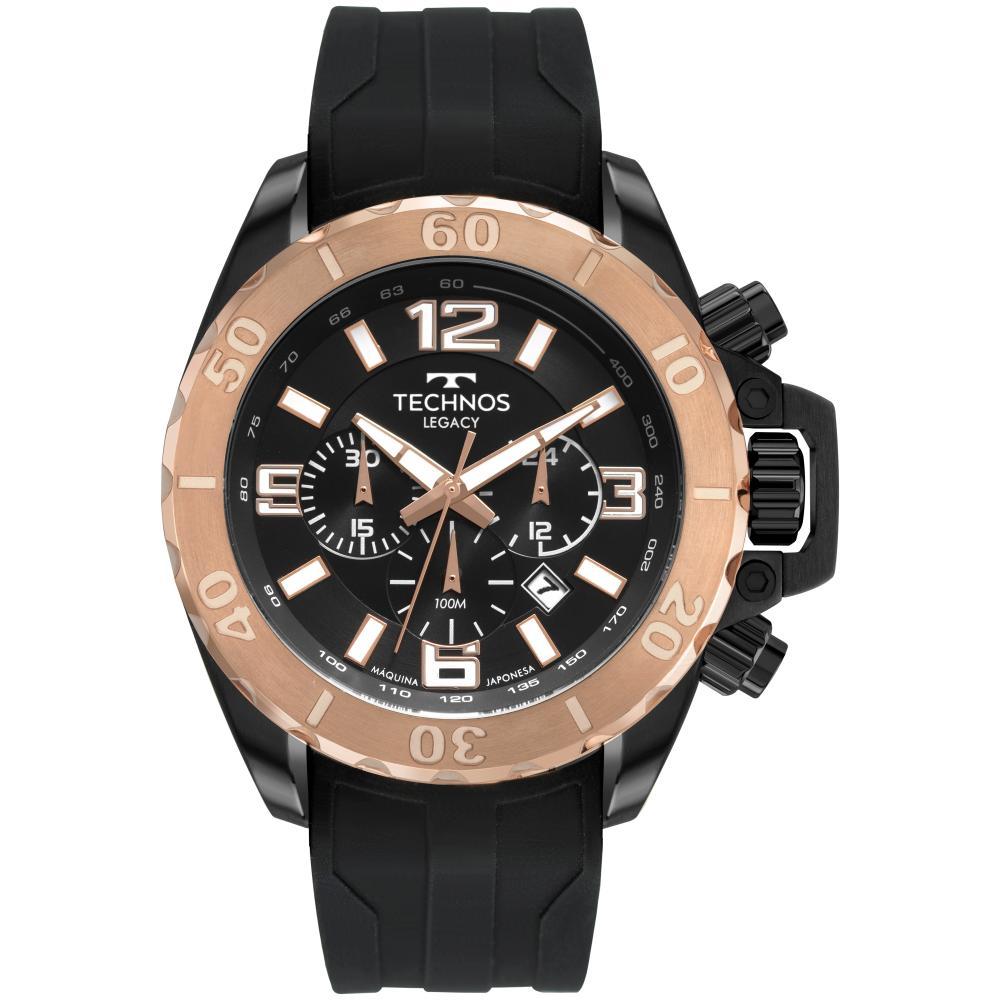 Relógio Masculino Technos Classic Legacy JS25CP/2P 48mm Silicone Preto
