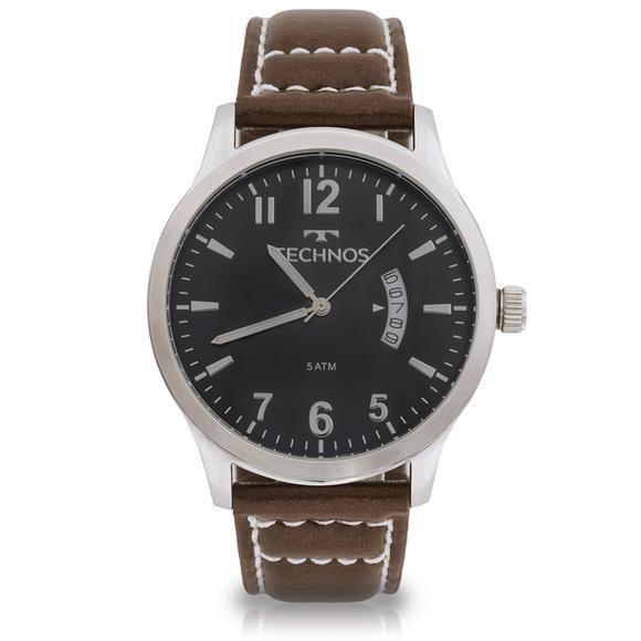 Relógio Masculino Technos  Classic Steel 2115KTO/0P 44mm Couro Marrom