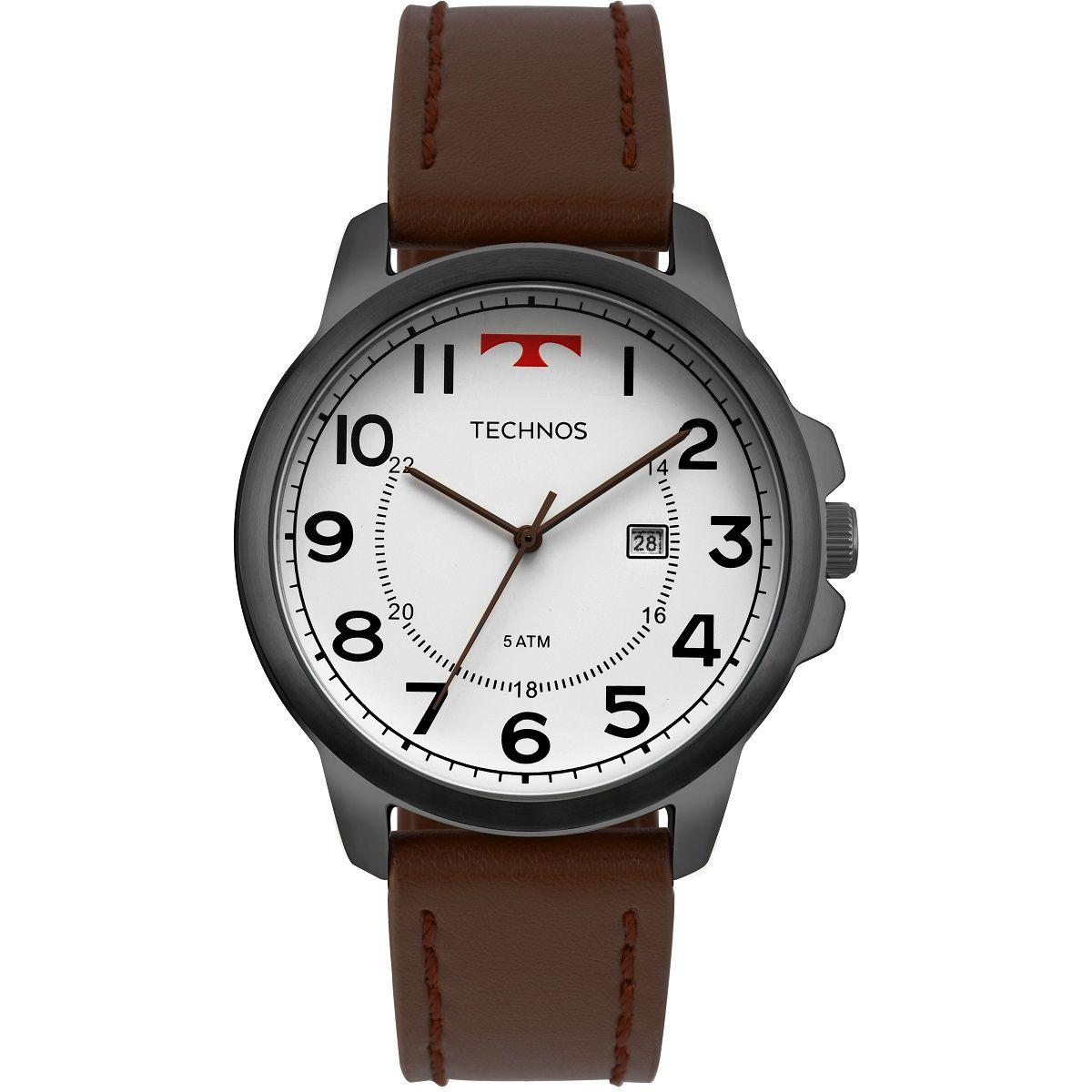 Relógio Masculino Technos Classic Steel 2115MPB/2B 46mm Couro Marrom