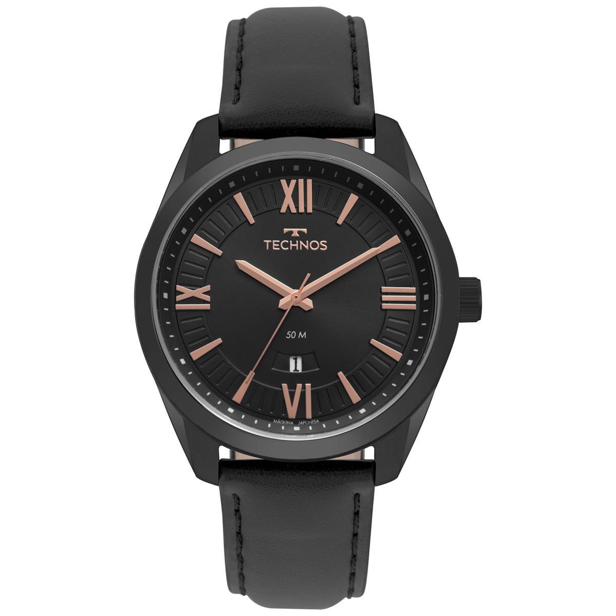 Relógio Masculino Technos Classic Steel 2115MSP/4P 46mm Couro Preto