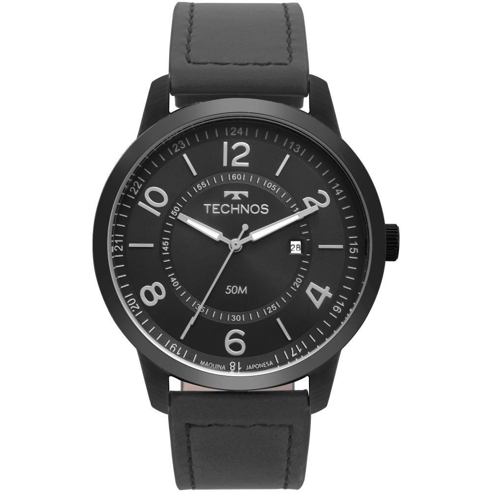 Relógio Masculino Technos Classic Steel 2115MSR/2P 46mm Couro Preto