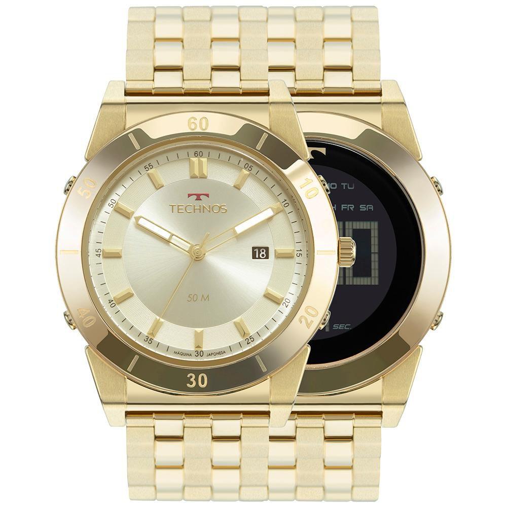 Relógio Masculino Technos Curvas 1S13CQ/4X 47mm Aço Dourado