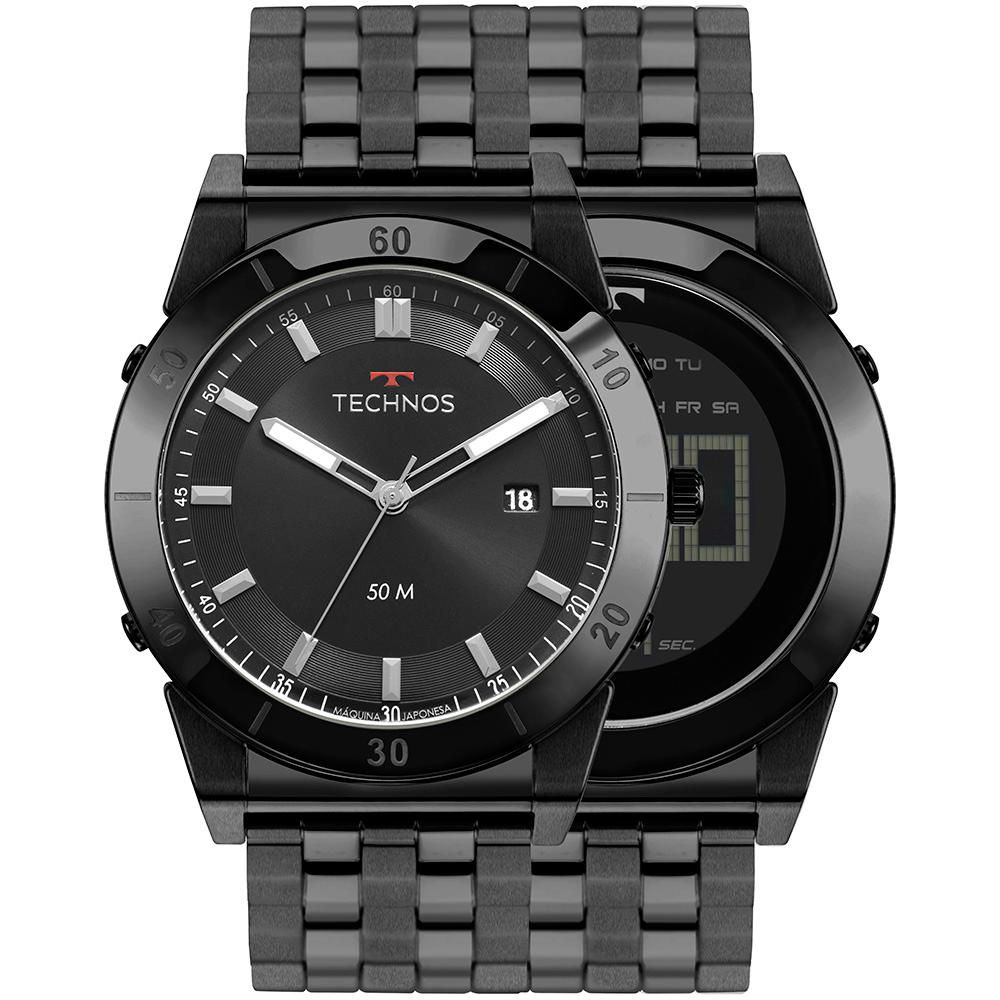 Relógio Masculino Technos Curvas 1S13CR/4P 47mm Aço Preto