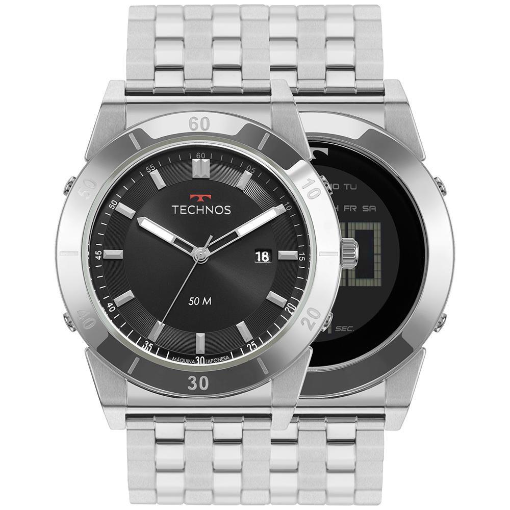 Relógio Masculino Technos Curvas 1S13CS/1P 47mm Aço Prata