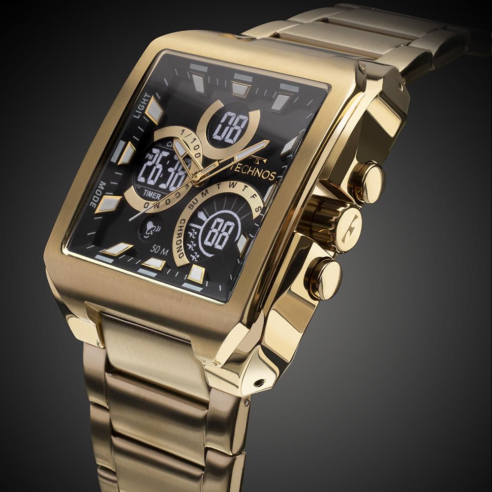 Relógio Masculino Technos Digiana BJ3940AA/1P 43mm Aço Dourado
