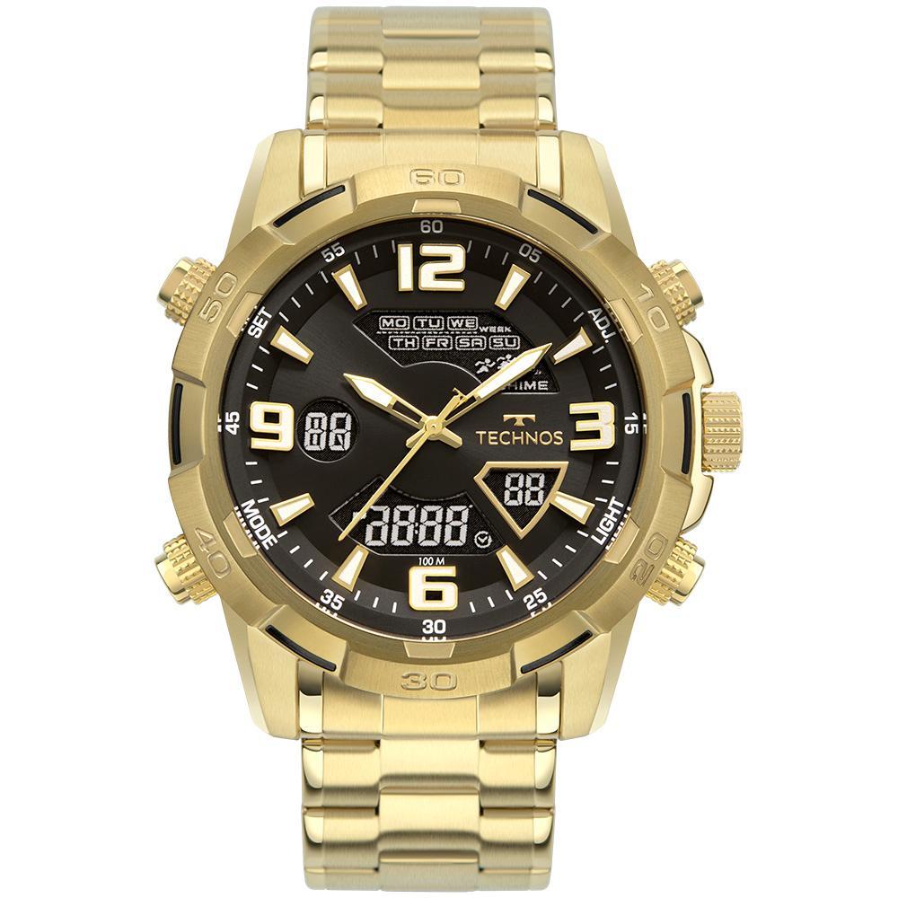 Relógio Masculino Technos Digiana W23305AB/1P 49mm Aço Dourado