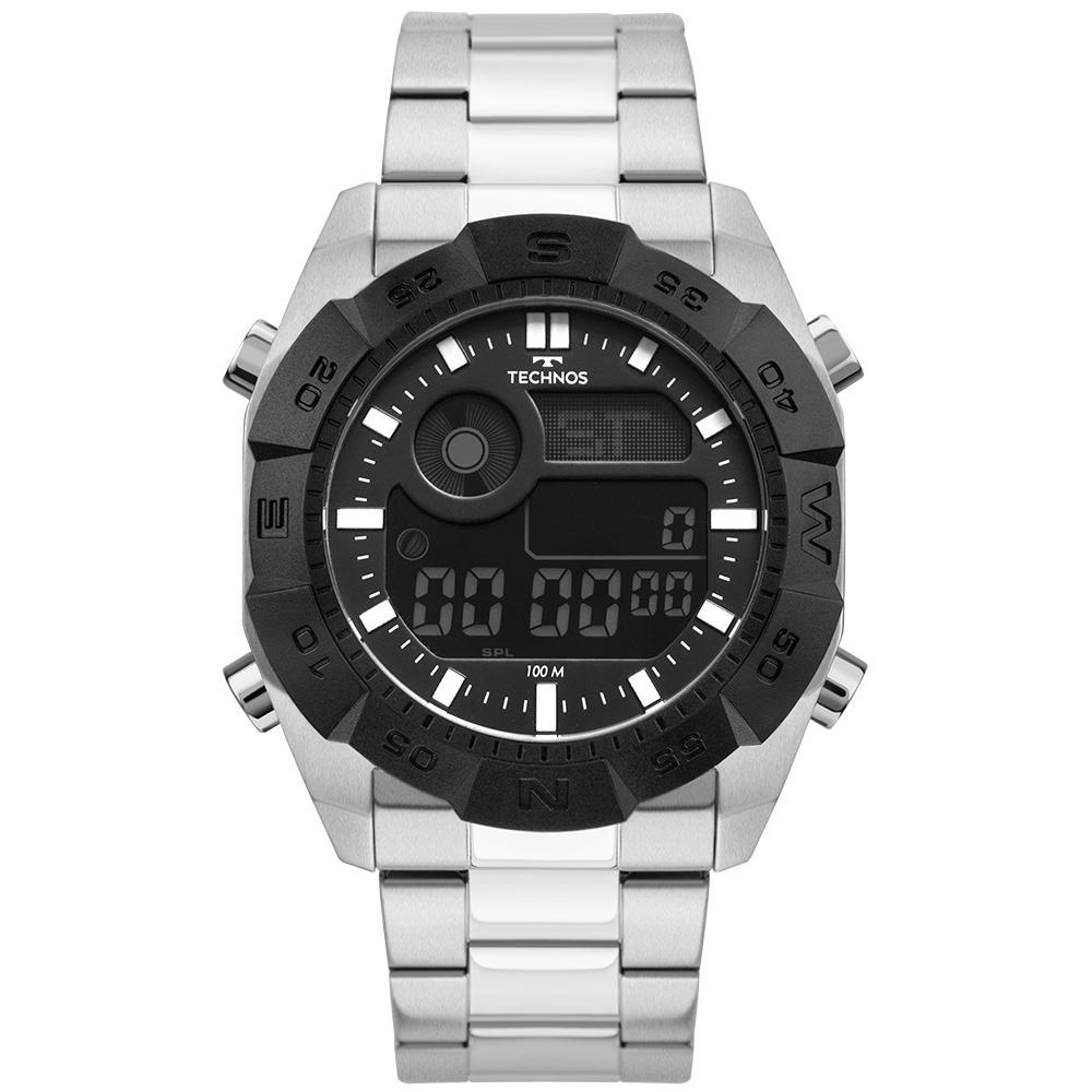Relógio Masculino Technos Digital BJK001AA/1P 46mm Aço Prata
