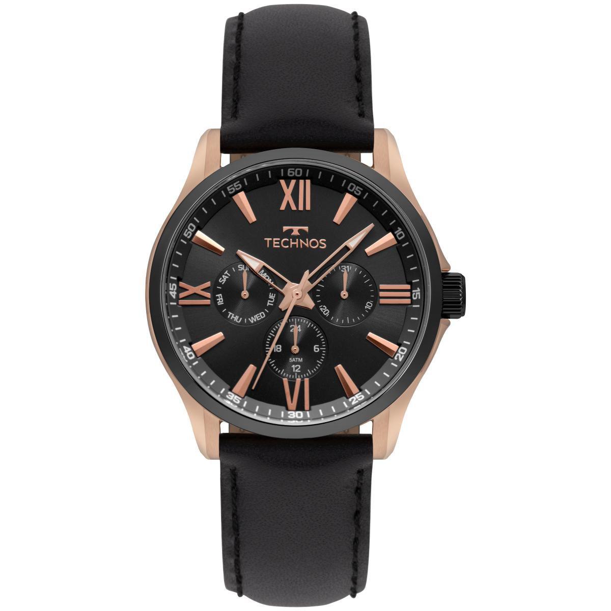Relógio Masculino Technos Executive 6P29AJW/8P 41mm Couro Preto