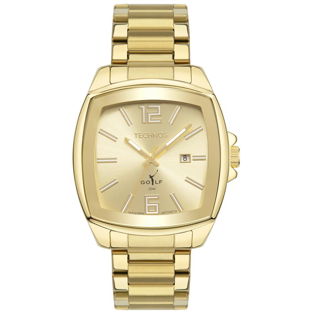 Relógio Masculino Technos Golf 2115MWS/1D 43mm Aço Dourado
