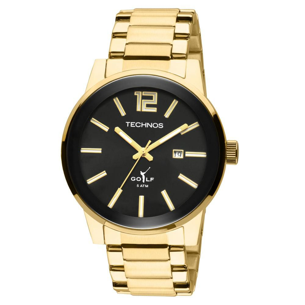 3f53be12523 Relógio Masculino Technos Golf 2115TT 4P 45mm Aço Dourado