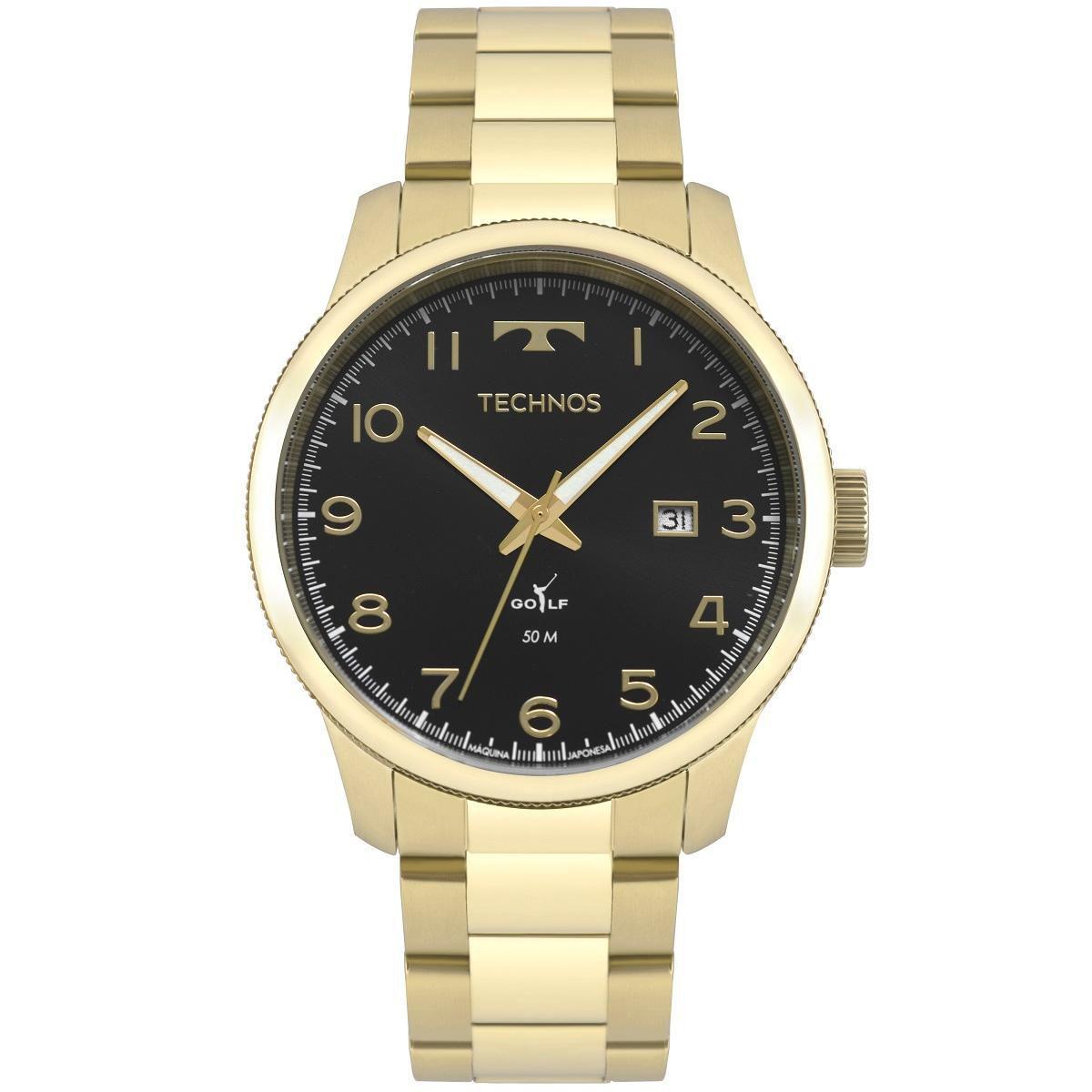 Relógio Masculino Technos Golf 2315LAF/4P 44mm Aço Dourado