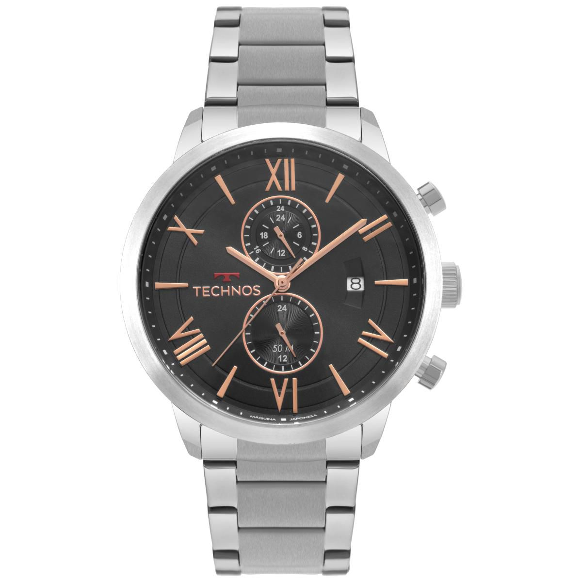 Relógio Masculino Technos GrandTech JP11AB/1P 48mm Aço Prata