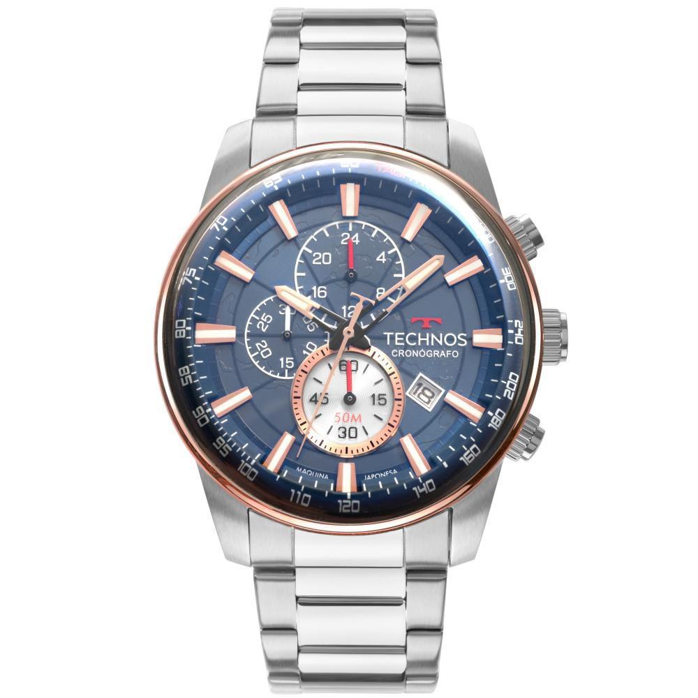 Relógio Masculino Technos GrandTech JS15FO/1A 47mm Aço Prata