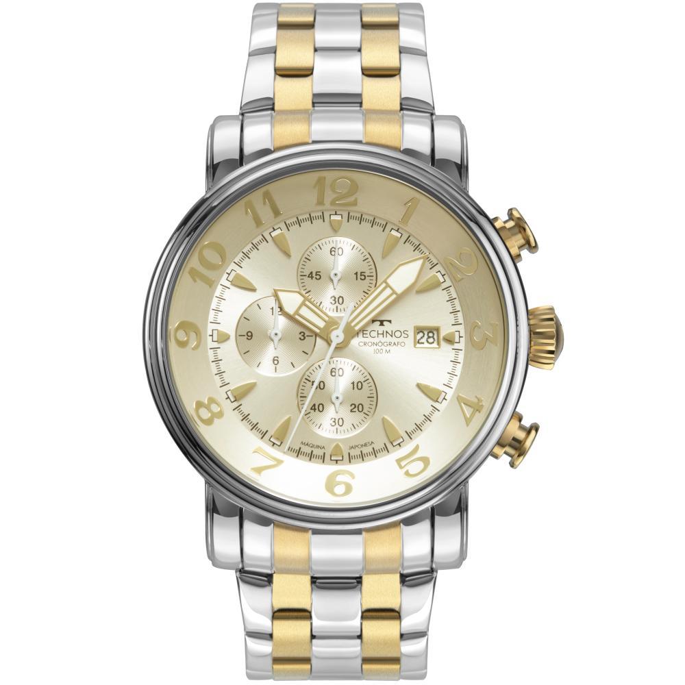 Relógio Masculino Technos GrandTech OS10FH/1D 44mm Aço Bicolor Prata/Dourado