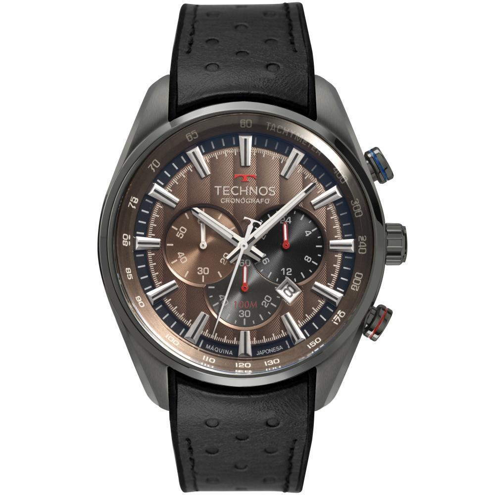 Relógio Masculino Technos GrandTech OS20HMI/2M 47mm Couro Preto