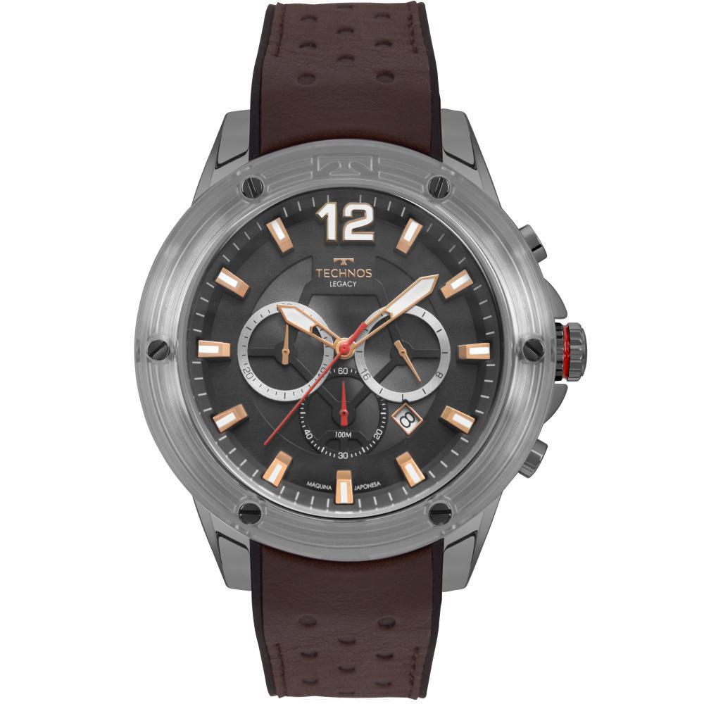 Relógio Masculino Technos Legacy JS26AO/2P 52mm Couro Marrom