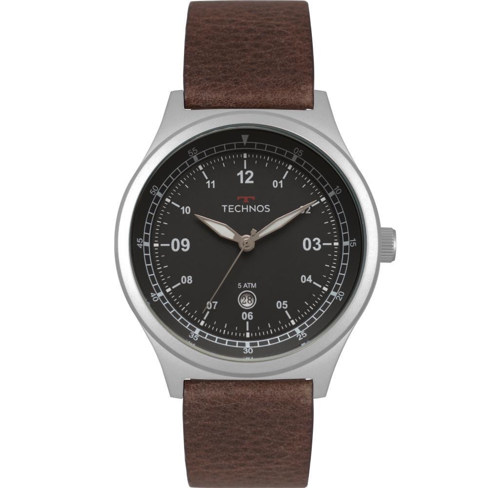 Relógio Masculino Technos Militar 2115MRA/0P 45mm Couro Marrom