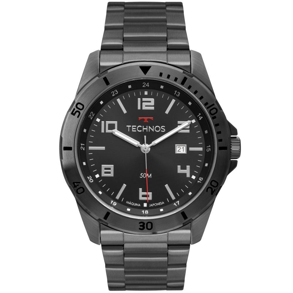 Relógio Masculino Technos Militar 2115MTU/4P 45mm Aço Grafite