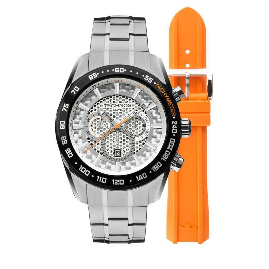 Relógio Masculino Technos OS20HM/1B Pulseira Aço + Adicional Borracha Laranja
