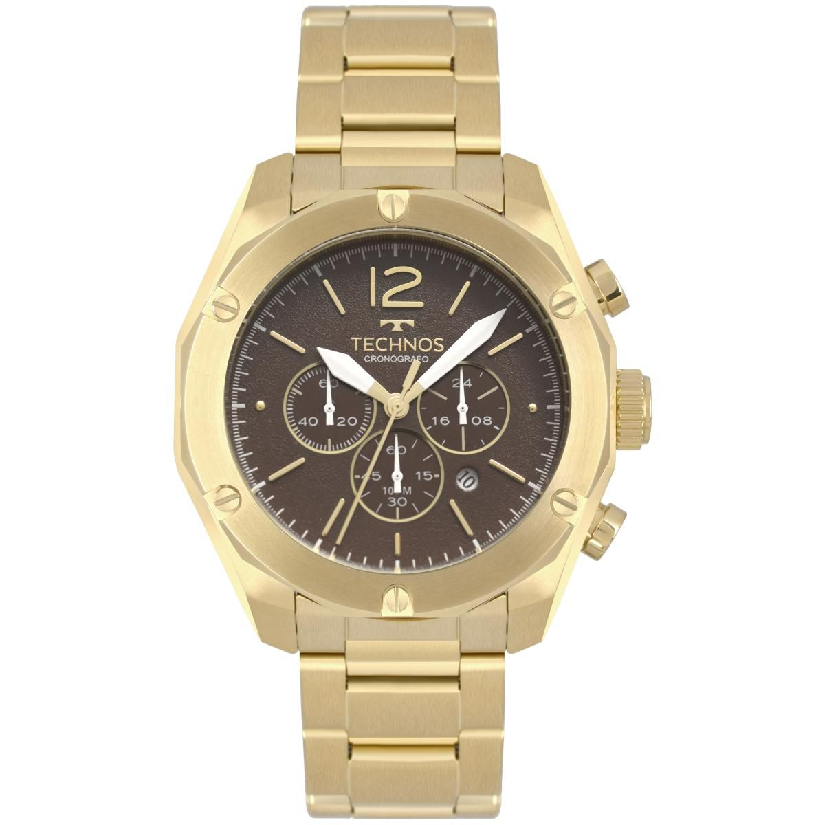 b983fde53dc Relógio Masculino Technos OS20HMF 4M 45mm Aço Dourado