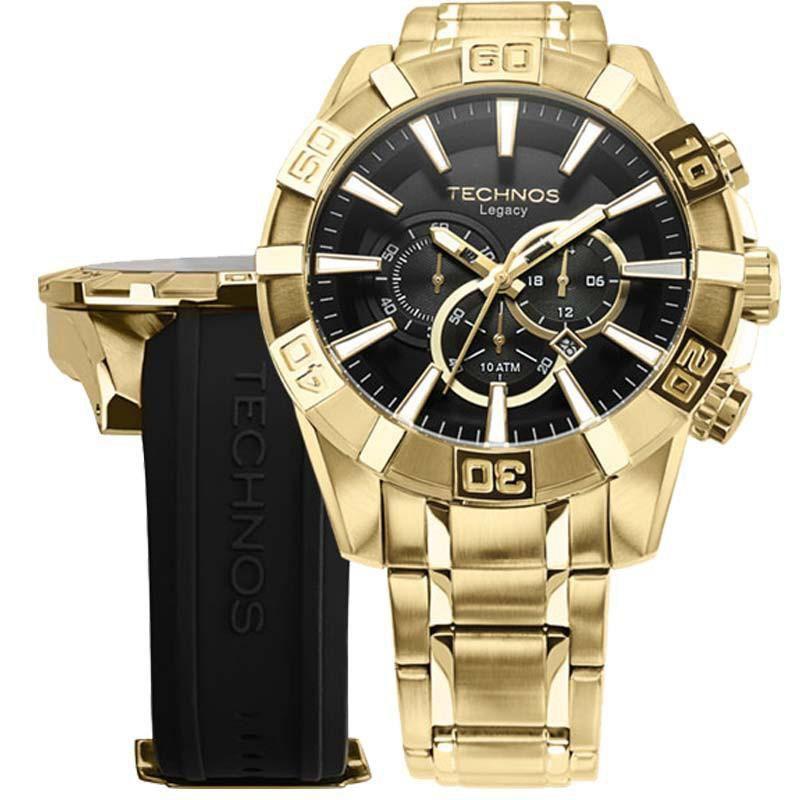 Relógio Masculino Technos OS2AAJ/4P/ OS2AAJAC/4P Dourado 52mm com Pulseiras Adicionais