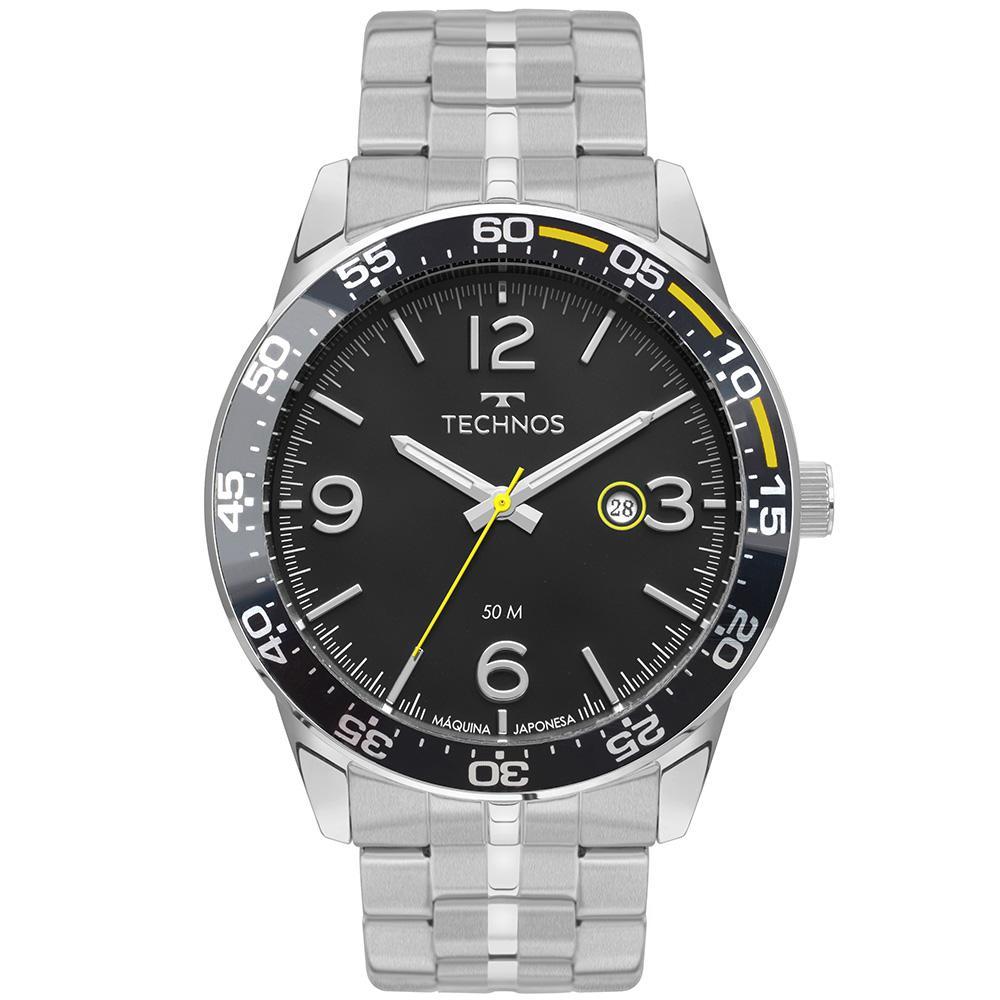 Relógio Masculino Technos Performance Racer 2115KSQ/1P 46mm Aço Prata
