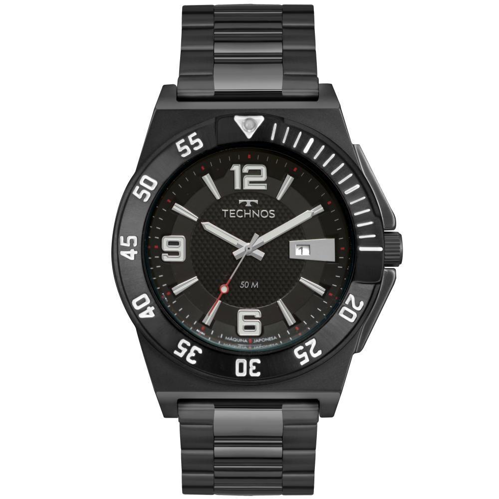Relógio Masculino Technos Racer 2117LBL/4P 46mm Aço Preto