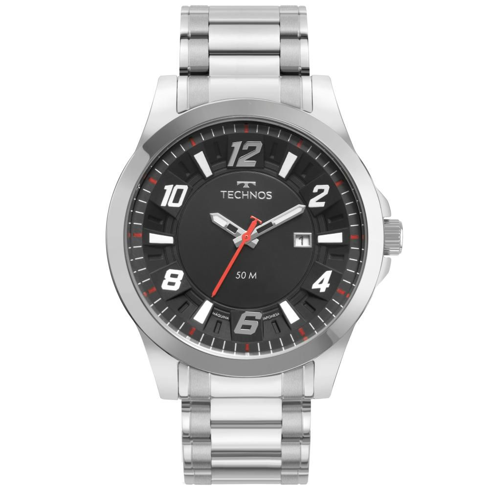 Relógio Masculino Technos Racer 2117LDF/1P 45mm Aço Prata