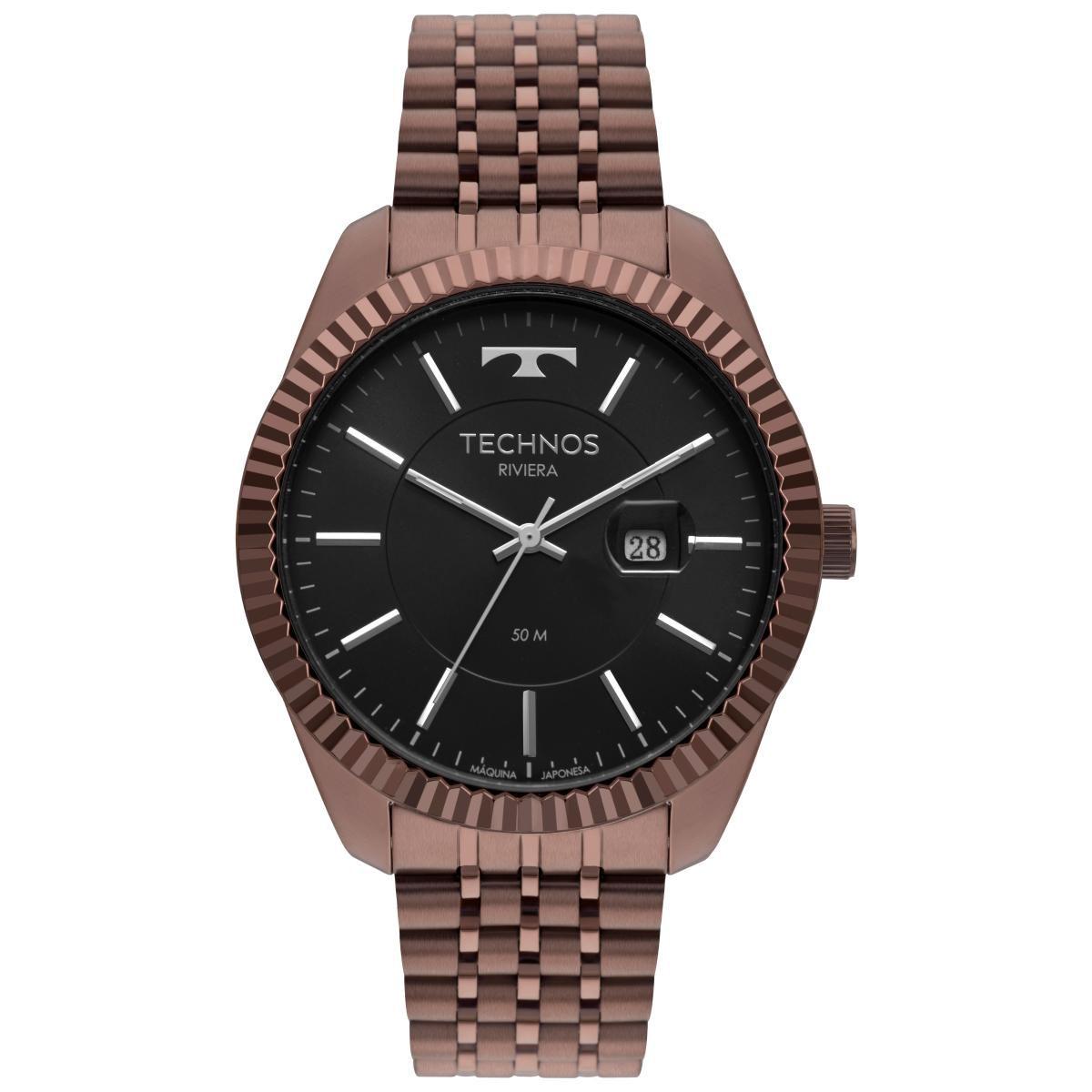 Relógio Masculino Technos Riviera 2115MSW/4P 46mm Aço Marrom