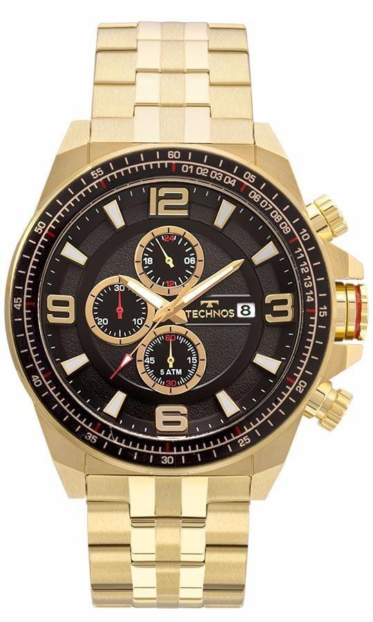Relógio Masculino Technos Skymast JS15FC/4P 50mm Aço Dourado