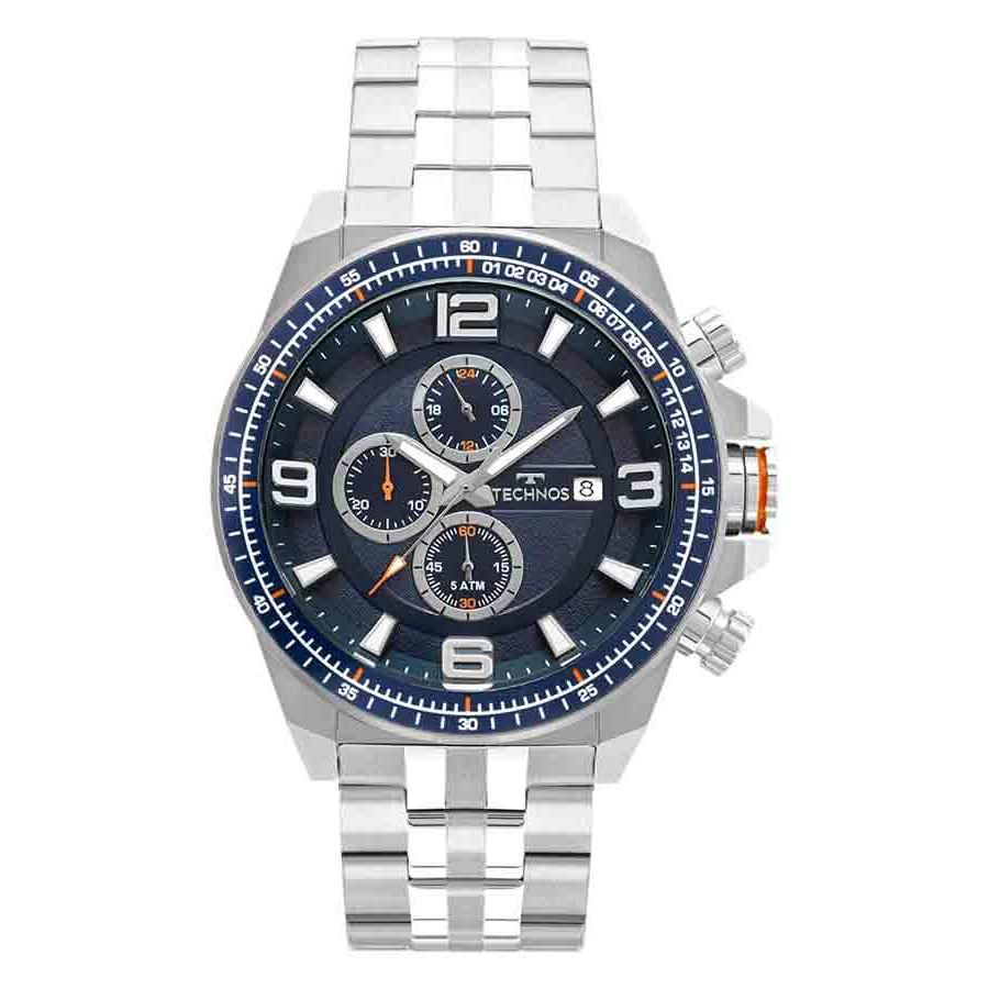 Relógio Masculino Technos Skymast JS15FD/1A 50mm Aço Prata