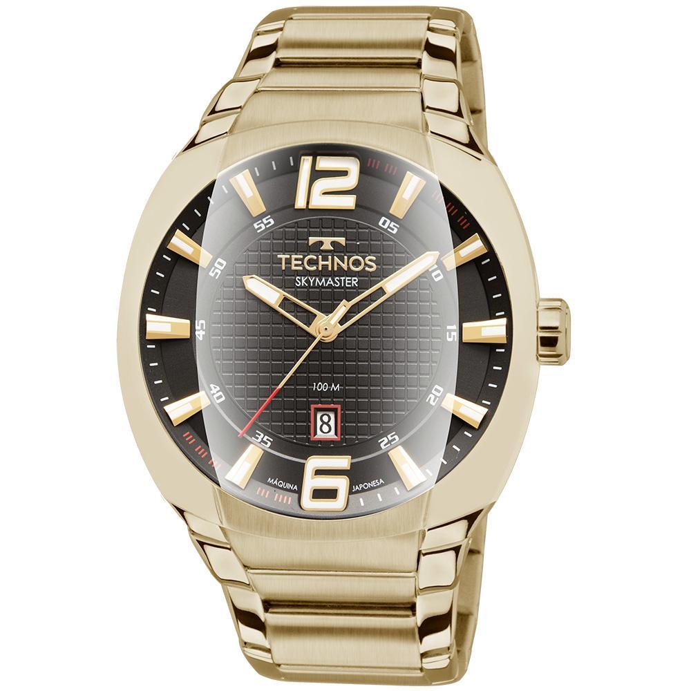 Relógio Masculino Technos Skymaster 2115MWL/1P 44mm Aço Dourado