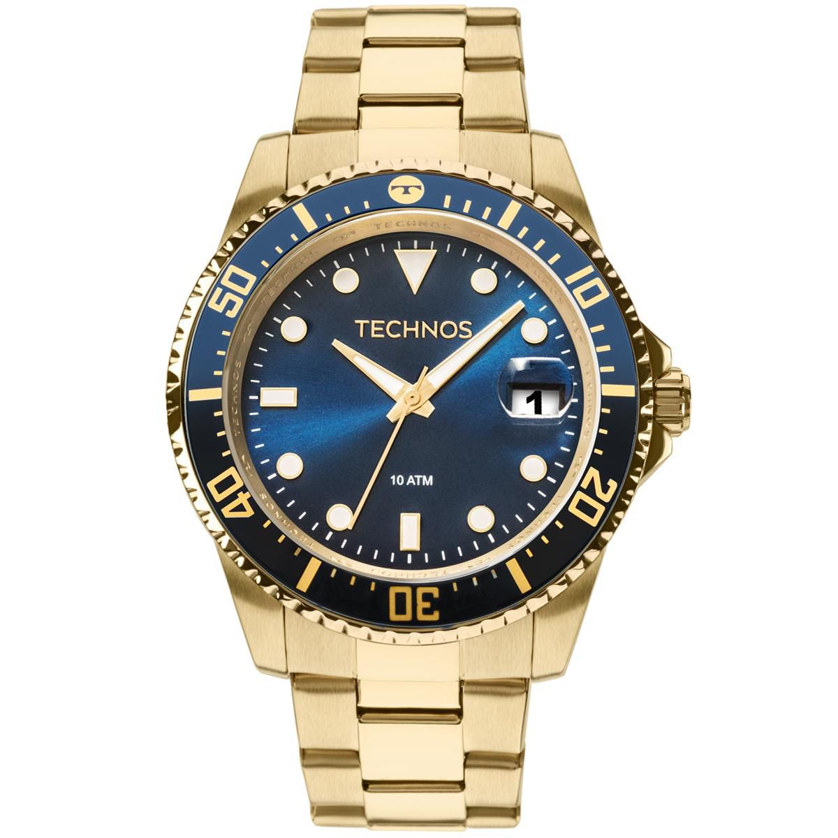 4ddaae1a1b0 Relógio Masculino Technos Skymaster 2415CK 4A 47mm Aço Dourado